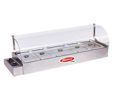 Skyfood KBM-100 44-in Bain-Marie Hot Food Display w/ Curved Glass Sneeze Guard, 115 V