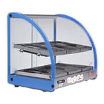 "Skyfood FWD2-18B 18"" Full-Service Countertop Heated Display Case w/ Curved Glass - (2) Levels, Blue, 120v"