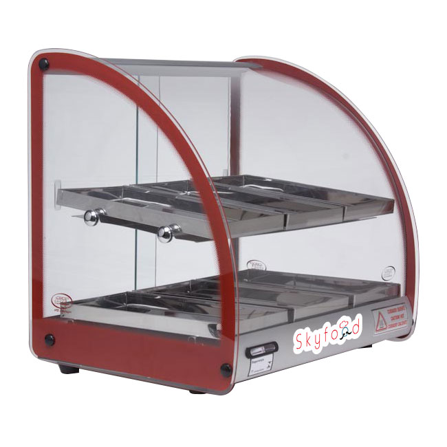 "Skyfood FWD2-18R 18"" Full-Service Countertop Heated Display Case w/ Curved Glass - (2) Levels, Red, 120v"