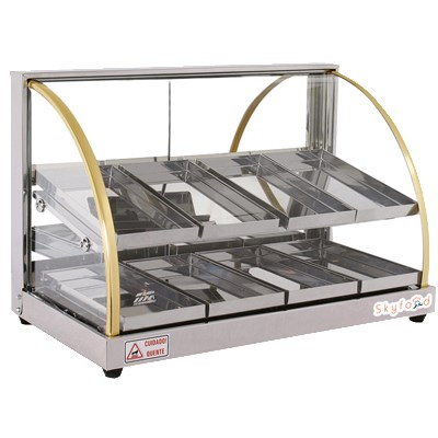 """Skyfood FWDE2-25 24.75"""" Full-Service Countertop Heated Display Case w/ Curved Glass - (2) Levels, 110v"""