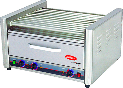 Skyfood RG-11BW 30 Hot Dog Roller Grill w/Bun Storage - Flat Top, 110v