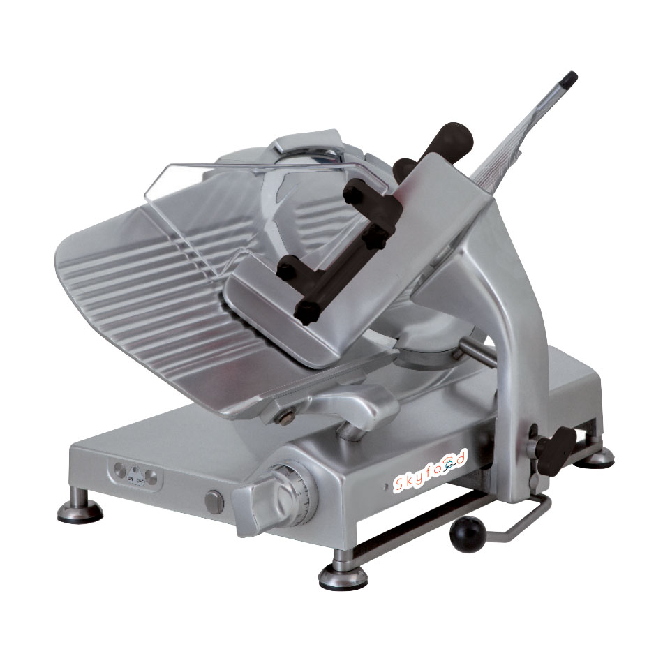 "Skyfood SSI-13G 13"" Meat Slicer - 45 Degree Gravity Feed, Dual-Action Removable Sharpener, Aluminum"