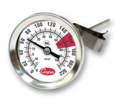 "Cooper 2237-04-8 Espresso Thermomter, 1-3/4""Dial, 0 to 220 F, Glass Lens, NSF"