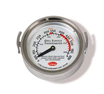 Cooper 3210-08-1-E Surface Grill Thermometer, Dial Typ, Turner Grips, 100 to 600 F