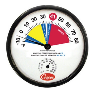 "Cooper 212-159-8 12"" Freezer Cooler Thermometer, -10 To 80-Degrees F"