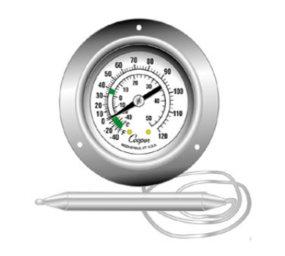 Cooper Instrument 6812-02-3 2-in Panel Type Thermometer w/ Back Flange, -40 To 120-Degrees F