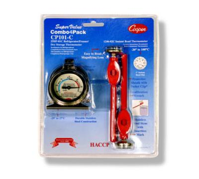 Cooper Instrument CP101-0-8 Combo 4-Pack: (2) Refrigerator/Freezer & (2) Pocket Thermometers, NSF