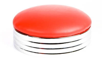 Oak Street Mfg SL2131TOP-RED Replacement Backless Bar Stool Seat w/ Retro Button Top, Red