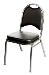 Oak Street SL2089-SV Stacking Banquet Chair w/ Round Back, Black Vinyl, Silver Frame