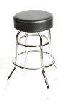 Oak Street Mfg SL2129-BLK Swivel Bar Stool w/ Round Black Vinyl Seat & Double Ring Base