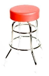 Oak Street SL2129-RED Swivel Bar Stool w/ Round Red Vinyl Seat & Double Ring Base