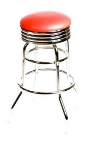 Oak Street SL2131-RED Swivel Bar Stool w/ Round Red Seat & Retro Ribbed Chrome Band