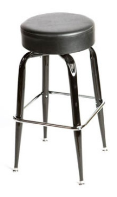 Oak Street Mfg SL2135-BLK Swivel Bar Stool w/ Single Chrome Ring & Black Button Top Seat