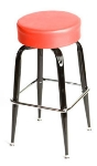 Oak Street SL2135-RED Swivel Bar Stool w/ Single Chrome Ring & Red Button Top Seat