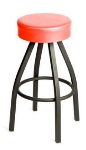 Oak Street SL2132-RED Swivel Bar Stool w/ Tapered Frame & Button Top Round Red Seat