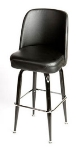 Oak Street Mfg SL2133-BLK Swivel Bar Stool w/ Square Single Chrome Ring & Black Bucket Seat