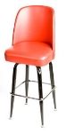 Oak Street Mfg SL2133-RED Swivel Bar Stool w/ Square Single Chrome Ring & Red Bucket Seat