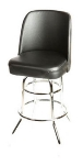 Oak Street SL2134-BLK Swivel Bar Stool w/ Double Chrome Ring & Black Bucket Seat