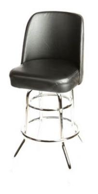 Oak Street SL2134-BLK Swivel Bar Stool w/ Double Chrome Ring & Black Bucket Seat