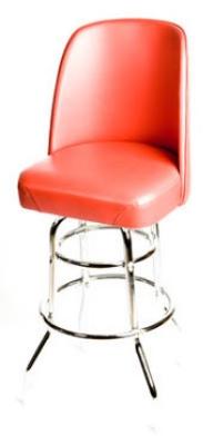 Oak Street SL2134-RED Swivel Bar Stool w/ Double Chrome Ring & Red Bucket Seat