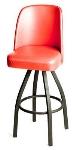 Oak Street SL2136-RED Swivel Bar Stool w/ Single Ring & Red Vinyl Bucket Seat