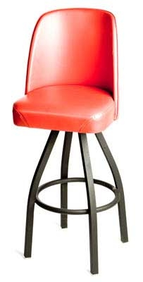 Oak Street Mfg SL2136-RED Swivel Bar Stool w/ Single Ring & Red Vinyl Bucket Seat