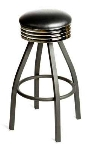 Oak Street SL2137-BLK Swivel Bar Stool w/ Tapered Frame & Black Button Top Round Seat