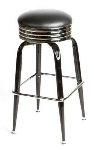 Oak Street SL2138-BLK Swivel Bar Stool w/ Retro Ribbed Chrome Band & Black Round Seat