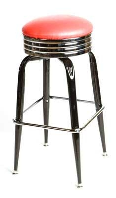 Oak Street SL2138-RED Swivel Bar Stool w/ Retro Ribbed Chrome Band & Red Round Seat