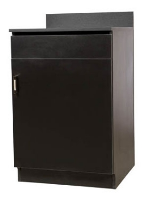 Oak Street Mfg M8210-BLK 24-in Waitress Station w/ 1-Drawer & 1-Door, Black Melamine Frame