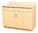 "Oak Street M8220-OAK 48"" Waitress Station w/ 2-Drawer & 2-Door, Oak Melamine Frame"