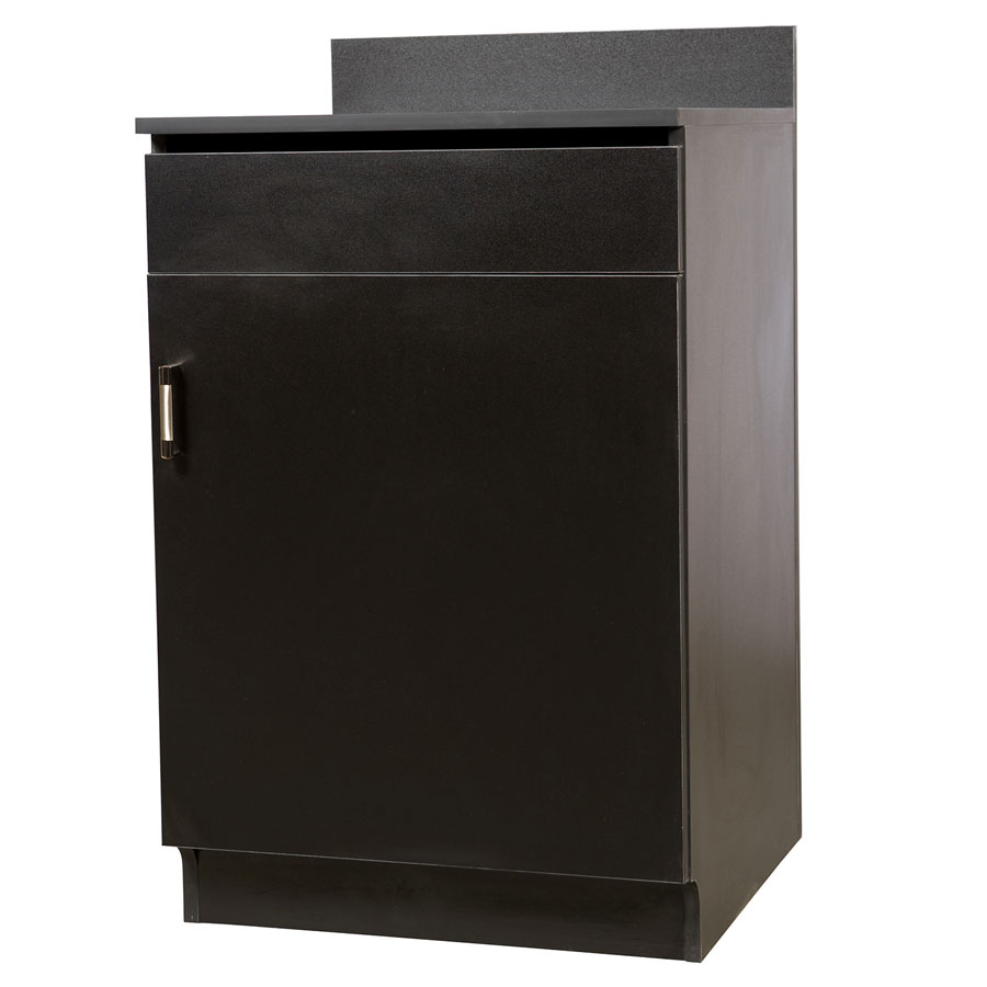 "Oak Street M8210-BLK 24"" Waitress Station w/ 1-Drawer & 1-Door, Black Melamine Frame"