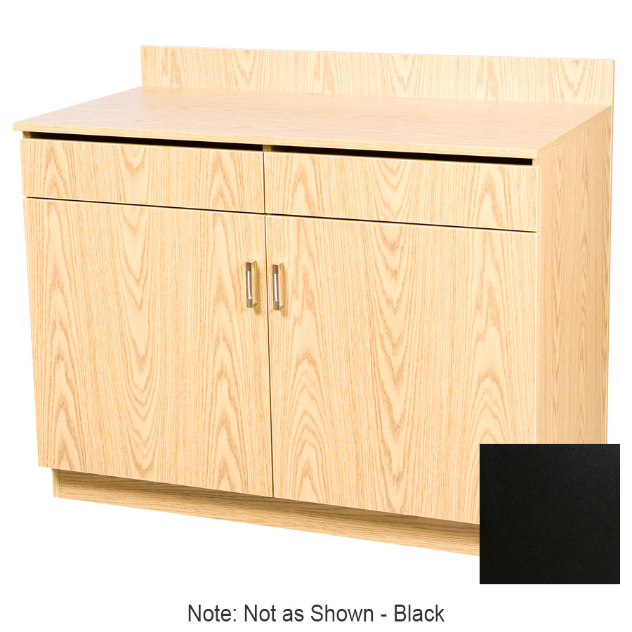 "Oak Street M8220-BLK 48"" Waitress Station w/ 2-Drawer & 2-Door, Black Melamine Frame"