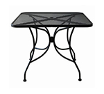 Oak Street Mfg OD3636 Outdoor Square Table w/ Mesh Top & Umbrella Hole, 36x36-in, Black