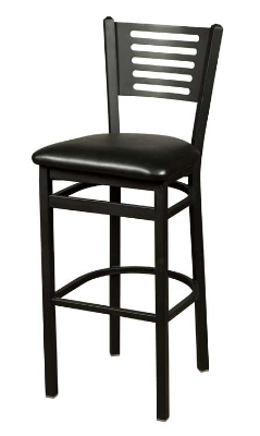Oak Street Mfg SL2166-1 Bar Stool w/ Foot Rest & Metal 5-Line Back, Black Powder Frame
