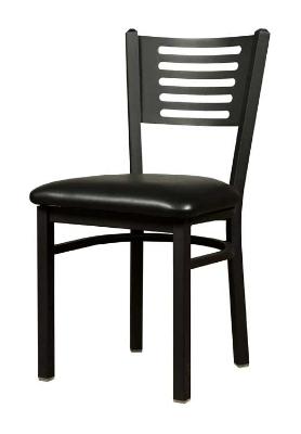 Oak Street Mfg SL2166 Dining Chair w/ Metal 5-Line Back & Black Powder Coated Frame