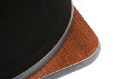 Oak Street Mfg MB24R 24-in Round Reversible Table Top w/ T-Mold Edge, Mahogany & Black