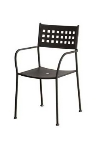 Oak Street OD3114 Outdoor Arm Chair w/ Metal Basket Back & Metal Seat, Charcoal