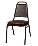 Oak Street SL2082-ESP Stacking Chair w/ Tapered Square Back, Vinyl Back & Seat, Brown