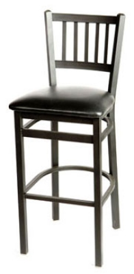 Oak Street SL2090-1 Bar Stool w/ Metal Vertical Back & Foot Rest, Black Powder Frame