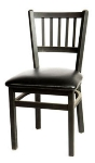 Oak Street SL2090 Dining Chair w/ Metal Vertical Back & Black Powder Coated Frame