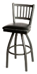 Oak Street SL2090-S Swivel Bar Stool w/ Metal Vertical Back & Foot Rest, Black Vinyl Seat