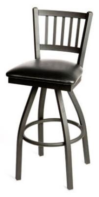 Oak Street SL2090-S Swivel Bar Stool w/ Metal Vertical Back & Foot Rest, Black Vinyl Seat