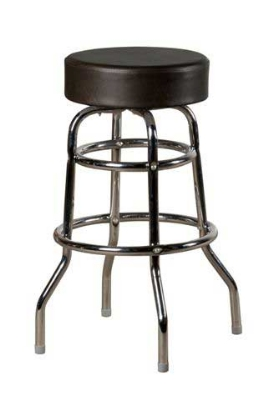 Oak Street SL2129-ESP Swivel Bar Stool w/ Round Espresso Vinyl Seat & Double Ring Base
