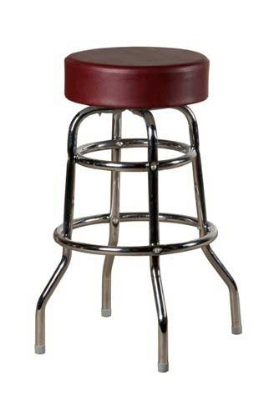 Oak Street SL2129-WINE Swivel Bar Stool w/ Round Wine Vinyl Seat & Double Ring Base