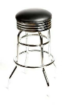 Oak Street SL2131-BLK Swivel Bar Stool w/ Round Black Seat & Retro Ribbed Chrome Band