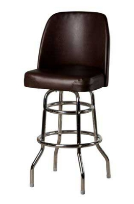 Oak Street SL2134-ESP Swivel Bar Stool w/ Double Chrome Ring & Espresso Bucket Seat