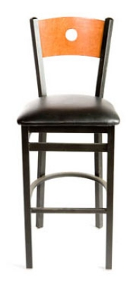Oak Street SL2150-1-B Bar Stool w/ Bullseye Solid Birch Back & Black Powder Coated Frame