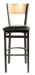 Oak Street SL2150-1-P Bar Stool w/ Foot Rest & Solid Birch Back, Black Powder Frame