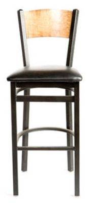 Oak Street Mfg SL2150-1-P Bar Stool w/ Foot Rest & Solid Birch Back, Black Powder Frame